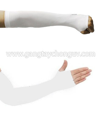 Găng tay chống nắng Let's Slim xỏ ngón màu trắng