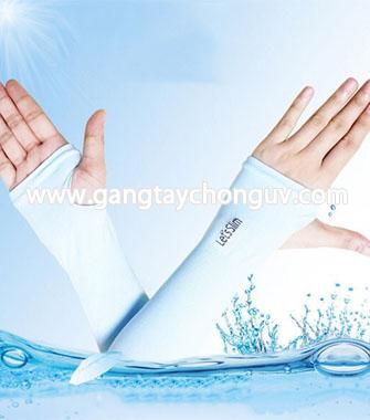 Găng tay chống nắng Let's Slim xỏ ngón màu xanh